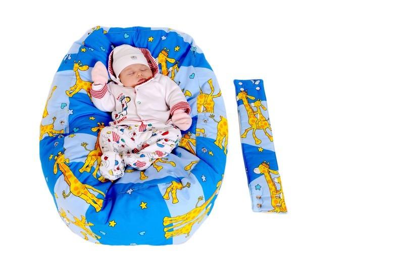 Pelíšek pro miminko ŽIRAFA MODRÁ, 100% bavlna 2
