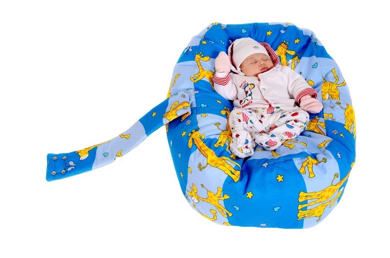 Pelíšek pro miminko ŽIRAFA MODRÁ, 100% bavlna 3
