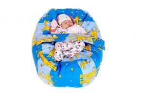 Pelíšek pro miminko ŽIRAFA MODRÁ, 100% bavlna
