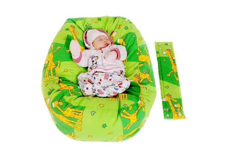 Pelíšek pro miminko ŽIRAFA ZELENÁ, 100% bavlna 1