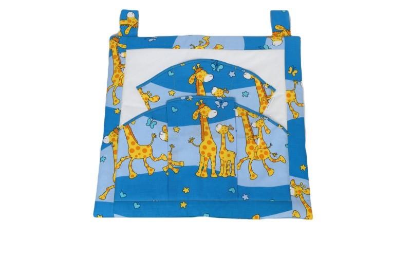 kapsář na postýlku žirafa modrá