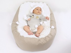 Pelíšek pro miminko PUNTÍK BÉŽOVÝ, 100% bavlna