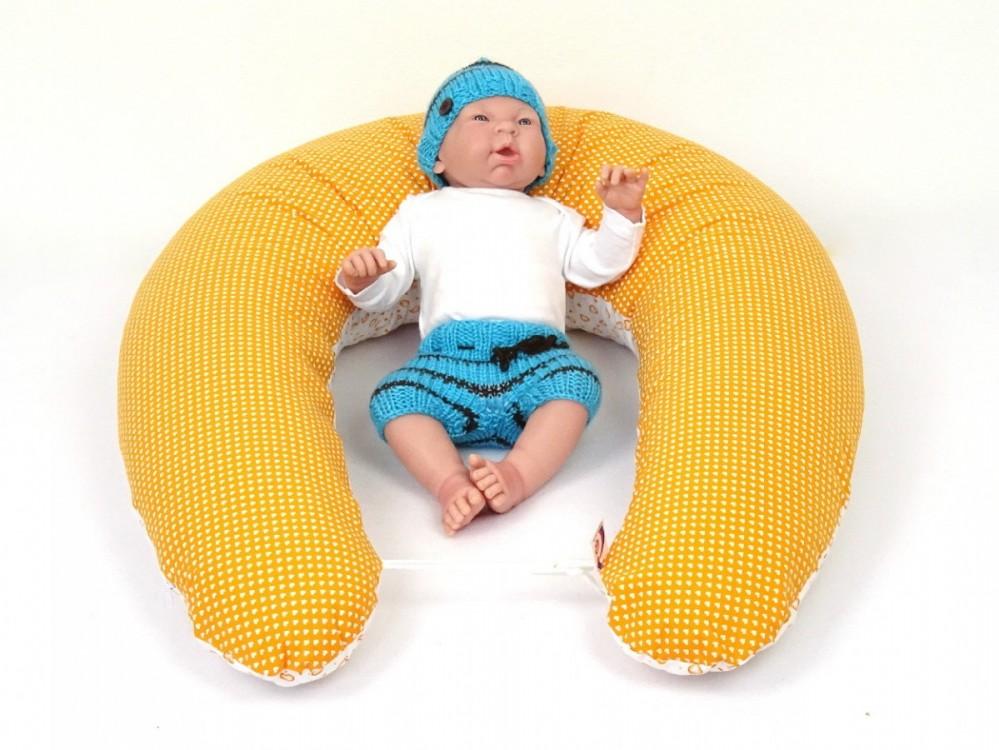 těhotenský a kojící polštář Matýsek, srdíčka oranžová 2
