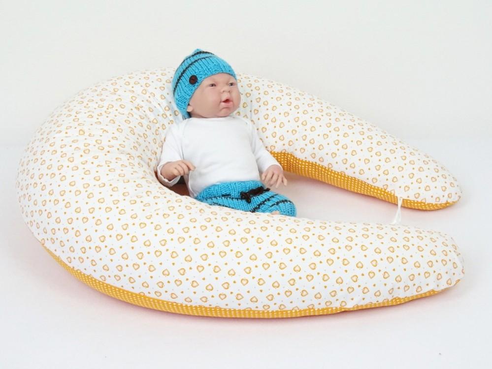 těhotenský a kojící polštář Matýsek, srdíčka oranžová 3