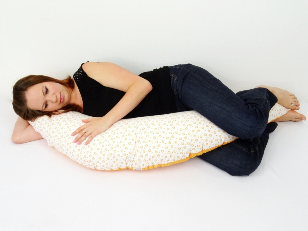těhotenský a kojící polštář Matýsek, srdíčka oranžová 4