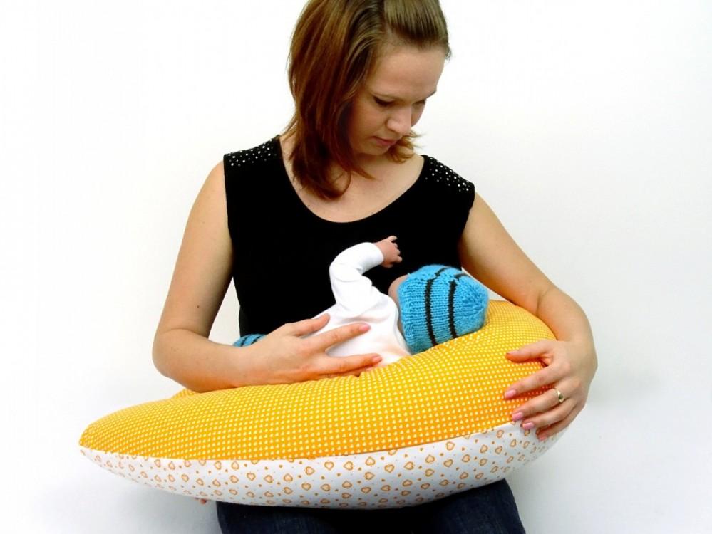 těhotenský a kojící polštář Matýsek, srdíčka oranžová 5