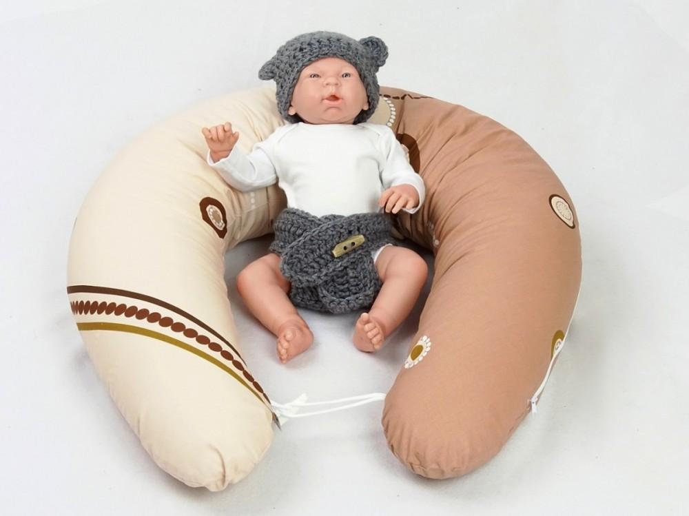 Kojící polštář MAXI KOLA HNĚDÁ, 100% bavlna 4