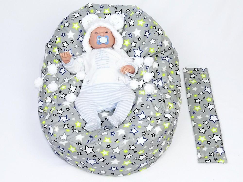 Pelíšek pro miminko HVĚZDY ŠEDÉ, 100% bavlna 1