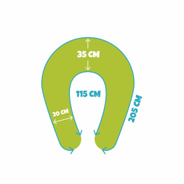 Jak se měří kojící polštář Matýsek, velikost Maxi