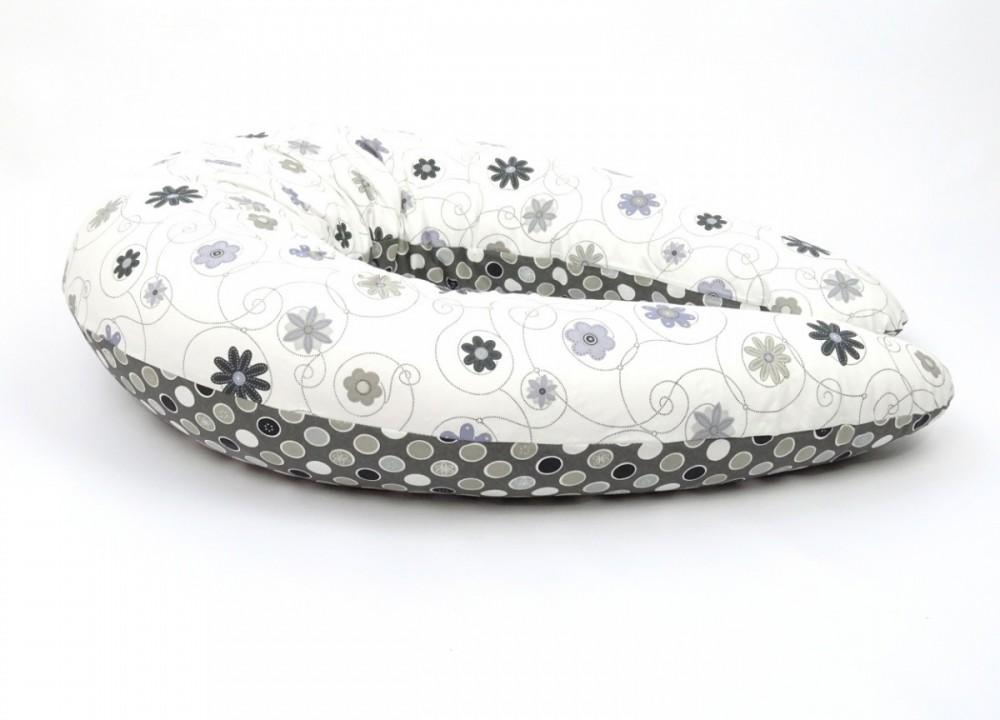 Kojící polštář MAXI LOUKA ČERNO/BÍLÁ, 100% bavlna 1