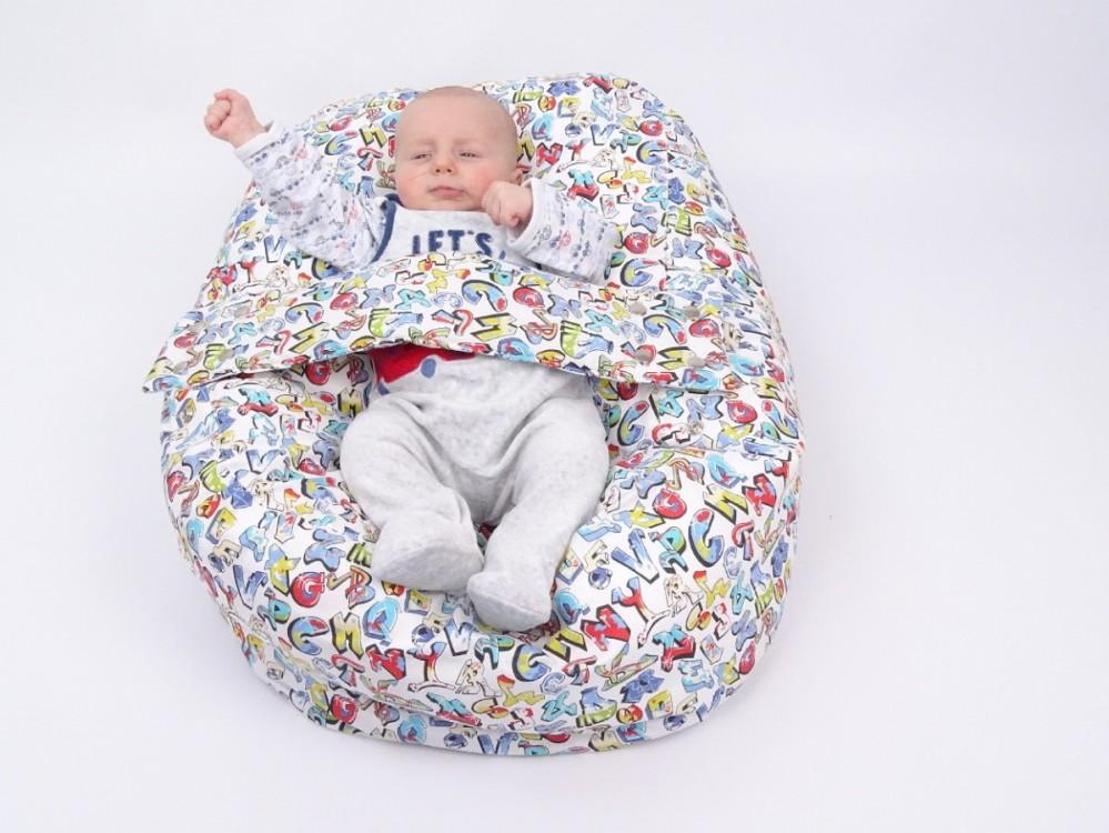 Relaxační a polohovací vak pro miminko GRAFITTI, 100% bavlna č.8