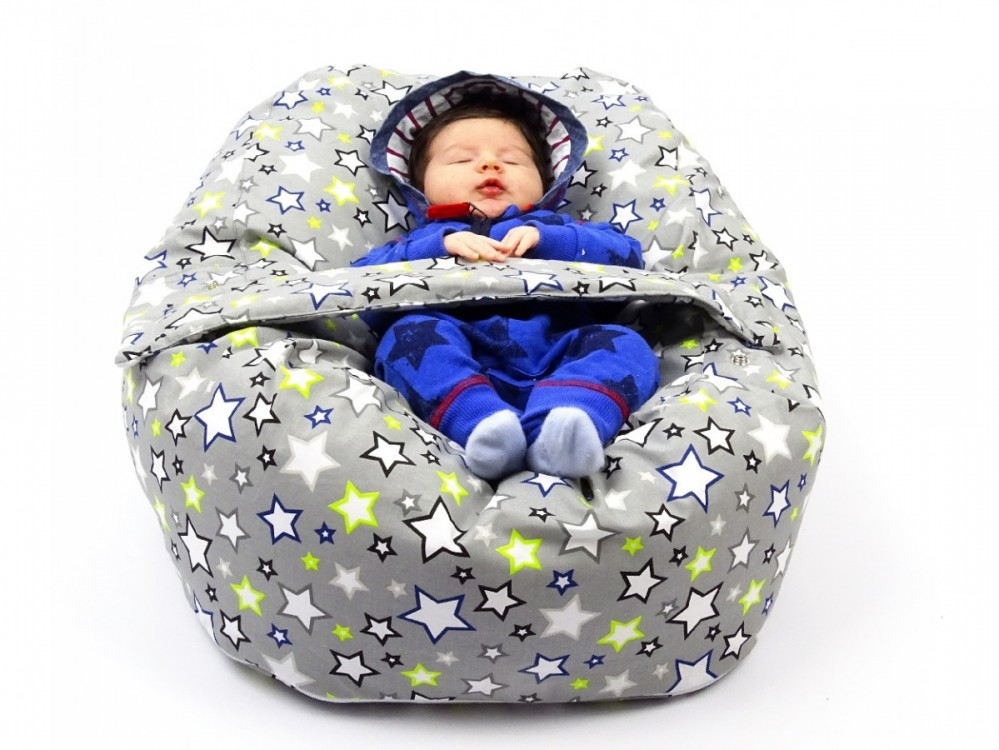 Pelíšek pro miminko HVĚZDY ŠEDÉ, 100% bavlna