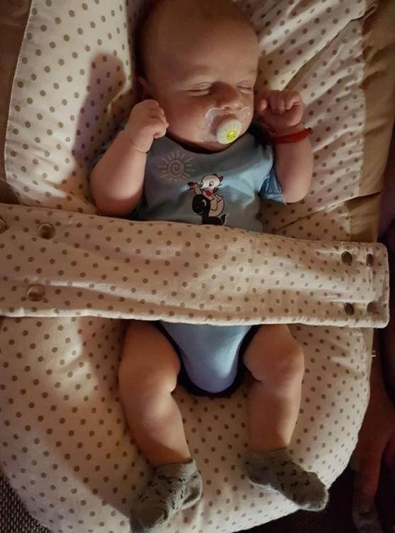 Druhé dvojčátko odpočívá v pelíšku pro miminko
