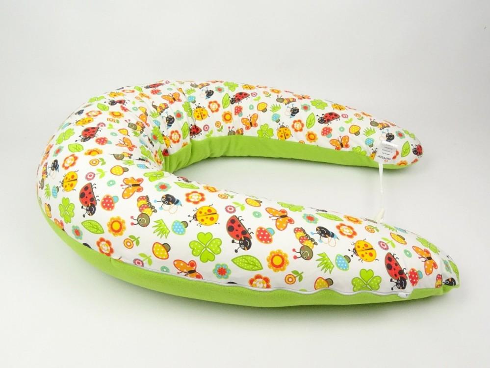 Kojicí polštář Maxi, beruška oranžová/zelený fleece