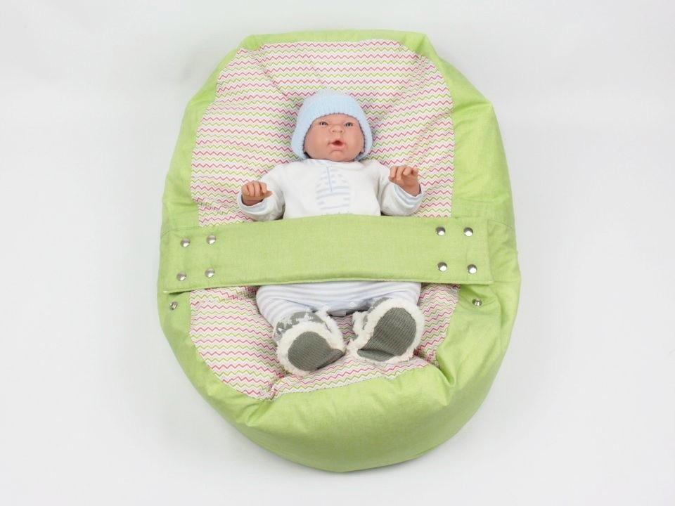 Pelíšek pro miminko, 100% bavlna, VLNKY ZELENÉ