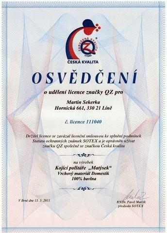 osvědčení česká a zaručený kvalita
