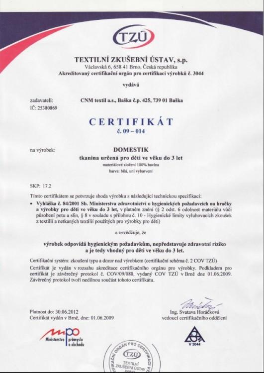 certifikát na používaný materiál