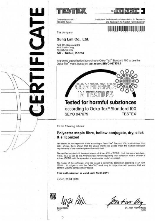 certifikát PES duté vlákno